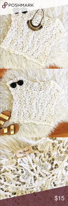 White Lace Topshop Tee Gently worn cream colored lace top from Topshop's London flagship. Miss Patina London Tops