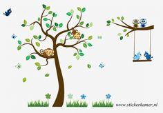 Muursticker Boom met tak en dieren   - Kinderkamer / babykamer op maat gemaakt   stickerkamer