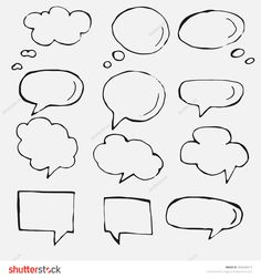Hand drawn thought and speech bubbles and balloons. Blank empty white speech bubbles. Speech bubble icons. Think cloud symbols. Sketch hand drawn bubble speech. Vector dream bubbles. © Seydoux