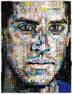 American artist Zac Freeman turns junk into amazingly detailed portraits. To create each portrait, Freeman takes discarded items like colored buttons and plastic bottles caps, and glues them together on a wooden canvas to form a stunning portrait of a person's face. Artist Turns Unwanted Junk Into Amazingly Detailed Portraits - DesignTAXI.com #art #junk #design