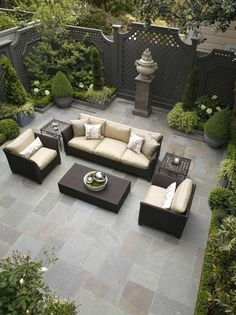 This simple yet elegant outdoor living space provides all you need for enjoying your own private oasis!