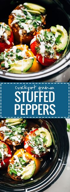 Quinoa Black Bean Crockpot Stuffed Peppers - healthy, vegetarian, easy to prep, and DELICIOUS. These Quinoa Black Bean Crockpot Stuffed Peppers can be made with or without meat - all with simple pantry ingredients! Beans In Crockpot, Healthy Crockpot Recipes, Slow Cooker Recipes, Vegetarian Recipes, Cooking Recipes, Crockpot Stuffing, Crockpot Peppers, Crockpot Quinoa, Quinoa Recipe