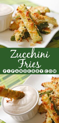 Zucchini Fries and Seasoned Sour Cream | Lightened up fries that are BETTER than the real deal. Great as a side dish or a snack!