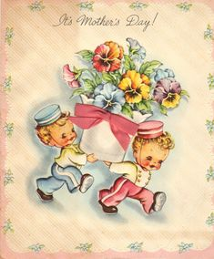 Delightful Mother's Day greeting card featuring tiny bellhops bearing a huge floral arrangement.