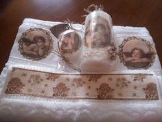 Conjunto de toalhas decoradas a decoupage com vela e sabonete igual
