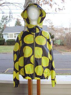 "Rain Jacket Hood Marimekko Samu Jussi Koski ""Pacey"" Yellow Circles Sz M | eBay"