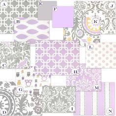 Custom Crib Baby Bedding YOU DESIGN - Wisteria Blooms, Purple and Gray. $238.00, via Etsy.