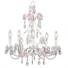 5-Arm Flower Chandelier in Pink and White