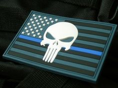 Thin blue line punisher american flag
