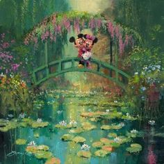 Mickey and Minnie at Giverny Disney Artwork by James Coleman Thomas Kinkade Disney, Disney Fine Art, Disney Love, Disney Mickey, Disney Paintings, Disney Artwork, Mickey Mouse Wallpaper, Disney Wallpaper, Android Jones