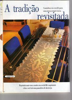 Filet crochet table runner - Pattern: http://www.pinterest.com/pin/374291419005220276/