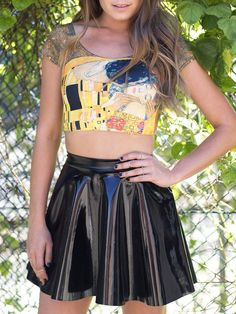 Image of: Vinyl skater skirt : Shiny black vinyl skater skirt from Black Milk clothing combined with their colorful print crop top. Pvc Skirt, Dress Skirt, Skater Skirt, Black Milk Clothing, Metallic Skirt, Black Leather Skirts, Latex Dress, Skirt Outfits, Work Outfits