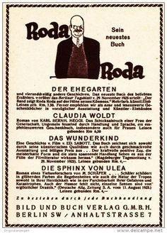 Original-Werbung/ Anzeige 1926 - BÜCHER VON ALEXANDER RODA RODA / BILD UND BUCH…