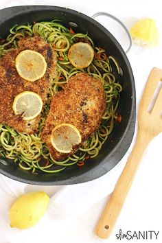 Almond Crusted Chicken with Lemon Zucchini Noodles by slimsanity: A delicious dinner dish with a gourmet feel you can prepare in 20 minutes or less. #Chicken #Zucchini #Lemon #Almond #Healthy #Quick