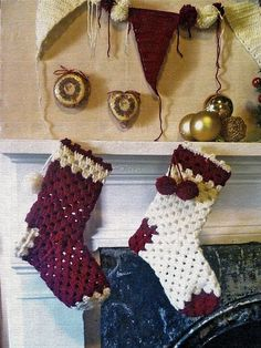 christmas stocking 16 Heartwarming Examples of Beautiful Crochet Christmas Decor Crochet Christmas Stocking Pattern, Crochet Stocking, Crochet Christmas Decorations, Christmas Gifts To Make, Holiday Crochet, Christmas Knitting, Holiday Crafts, Christmas Stuff, Christmas Trees