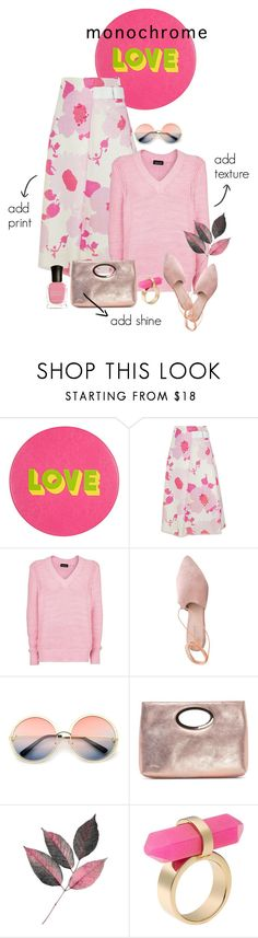 """All Pink"" by minnieromanovich ❤ liked on Polyvore featuring Lisa Perry, Victoria Beckham, Topshop, Summit, ZeroUV, Donald J Pliner, Michael Kors, Deborah Lippmann and monochromepink"