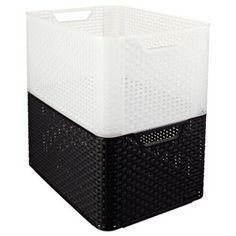 The Container Store > Large Basketweave Bin super stackers for pantry or closet.