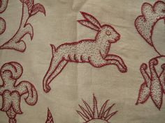 Crewel work rabbit worked in stem stitch and seeding. Dated 1620 , English.