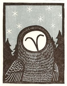 Snow owl in woodcut. Holiday Cards, Christmas Cards, Lino Art, Stamp Carving, Christmas Owls, Owl Art, Linocut Prints, Printmaking, Collage
