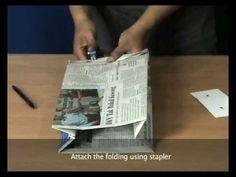 How to make newspaper bag (staple version)