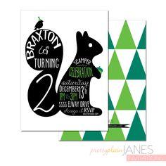 Squirrel Bithday Party Invitation - 5X7 with *bonus reverse side* by PrettyPlainJanes on Etsy https://www.etsy.com/listing/214327967/squirrel-bithday-party-invitation-5x7
