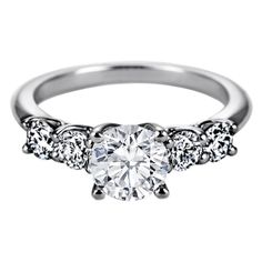 Engagement Ring - Five Stone Round Diamond Trellis Engagement Ring,... ($1,450) ❤ liked on Polyvore