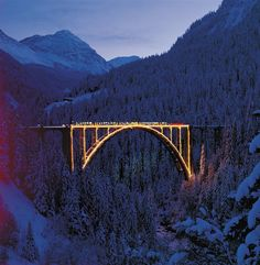 Viaduct in Langwies, Switzerland at Christmas time. So beautiful with the snow and the lights!