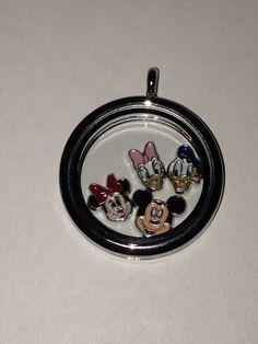 Disney Floating Charm Locket w/ Mickey, Minnie, Donald, and Daisy on Etsy, $25.00