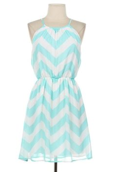** I really love the chevron pattern- don't have anything in this pattern yet (love the chevron shirt at bottom of this board).  I also love the cut of this dress up top.  Very flattering to my body type.***  -Sarah    Aqua Chevron Sundress