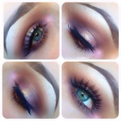 (Dont you love this eye makeup by jillianmac ?? )Eyeshadow 1. Haux in crease 2. Sketch in inner and outer corners of lid 3. Star Violet all over lid and under waterline 4. Cosmic on very center of lid and waterline. All by MAC.