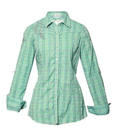 Take a look at this Green Plaid Caireen Button-Up by Roar Clothing on #zulily today!