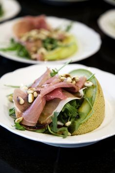 The perfect starter is a salad with melon, almonds and salt ham #restaurant #proturhotels #mallorca