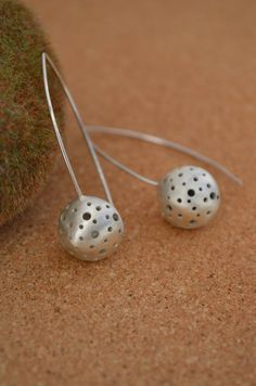 Sterling Silver Dangle Earrings with Drilled by ReaganHayhurst, $90.00