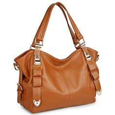 UTO Women Tote Bag PU Leather Shoulder Bags Fashion Handbags Satchel Brown -- Learn more by visiting the image link.