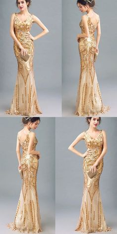 FASHION CHARMING SPARKLY GOLDEN SEQUINS MERMAID V-NECK FORMAL EVENING PARTY PROM DRESSES M1350#prom #promdress #promdresses #longpromdress #promgowns #promgown #2018style #newfashion #newstyles #2018newprom #eveninggown #goldensequins #mermaidpromdress #vneck #charmingdress