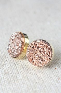 Rose Gold Earrings | Bridesmaids Druzy Stud Earrings