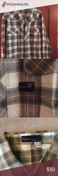Men's Green Plaid RocaWear Shirt This is a NWT long sleeve shirt in size 3x. Rocawear Shirts Casual Button Down Shirts