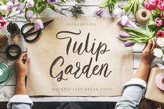 Tulip Garden Script. by Red Ink on @creativemarket  #font #fonts #script #brush #brushfont #handwritingfont #scriptfont #casual #elegant #webfont #webfonts #feminine #stylish #branding #calligraphy #ink #pen #modern #sweet #casualfont #fontbundle #bestfont #trending #trendingfonts