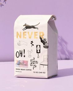 Portland's Never Coffee Lab Brings A Unique Design To Coffee | Dieline Cool Packaging, Food Packaging Design, Coffee Packaging, Coffee Branding, Custom Packaging, Packaging Design Inspiration, Product Packaging Design, Product Design, Chocolate Packaging