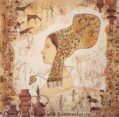 """Купить Триптих """" Другие времена"""" - триптих, Батик, картина, бежевый, шёлк, текстильные краски"""
