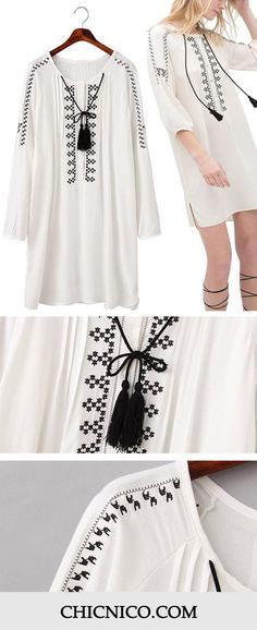 Can't get enough of these boho print dress! This black and white is a classic! Discover it at Chicnico.com with amazing prices