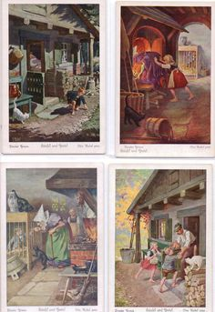Hänsel und Gretel - Brüder Grimm - Otto Kubel pinx; early 1900's set of 6 UVACHROM postcards, this shows FOUR copies of series # 125; all of which are 'MINT'(NOT post-ally used); #s 1, 4 , 5 & 6 (3712, 3715, 3716 & 3717)