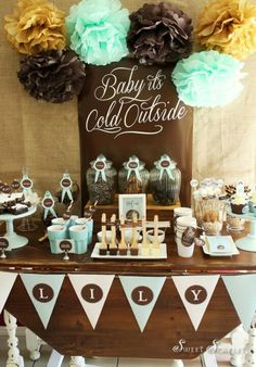 Baby It's Cold Outside | Winter Baby Shower - Hot chocolate and cookie bar? Pink and brown go nicely together.