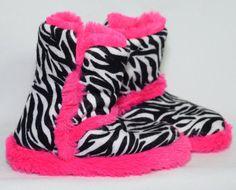 Little Girls 7/8 #Zebra Animal Print & #Pink #Booties Slippers House Shoes Fur #Cozy #AnimalPrint #Slippers