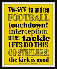 Steelers free printable. Print this free: NFL Team Prints - Free Printables