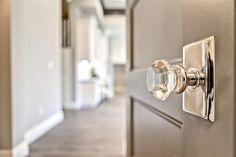 Emtek door knobs - Clark and Co. Homes Details Crystal Door Knobs, Glass Door Knobs, Custom Home Builders, Custom Homes, Sliding Closet Doors, Hallway Closet, Knobs And Knockers, Home Hardware, Kitchen Hardware
