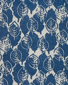 Lytton Linen Fabric A hand blocked style leaf print in indigo on an off white linen