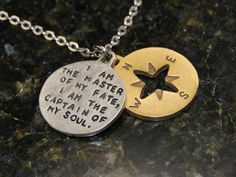 Family Decor I Am The Master of My Fate I Am The Captain of My Soul Quote Pendant Necklace Cabochon Glass Vintage Bronze Chain Necklace Jewelry Handmade