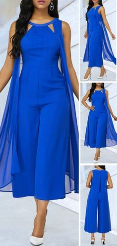 When you are going to take a meet,you need a serious clothes,this Royal Blue jumpsuit perfectly saitisfied it.Cutout Neckline Sleeveless desigen make you look sexy and elegant. Blue Jumpsuits, Jumpsuits For Women, Stylish Outfits, Fashion Outfits, Womens Fashion, Diy Mode, African Fashion Dresses, Casual Dresses, Dress Up