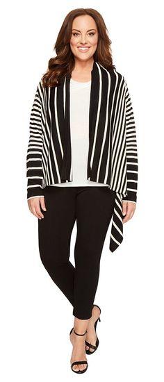 NYDJ Plus Size Plus Size Andre Cascade Cardigan (Black/Natural) Women's  Sweater -